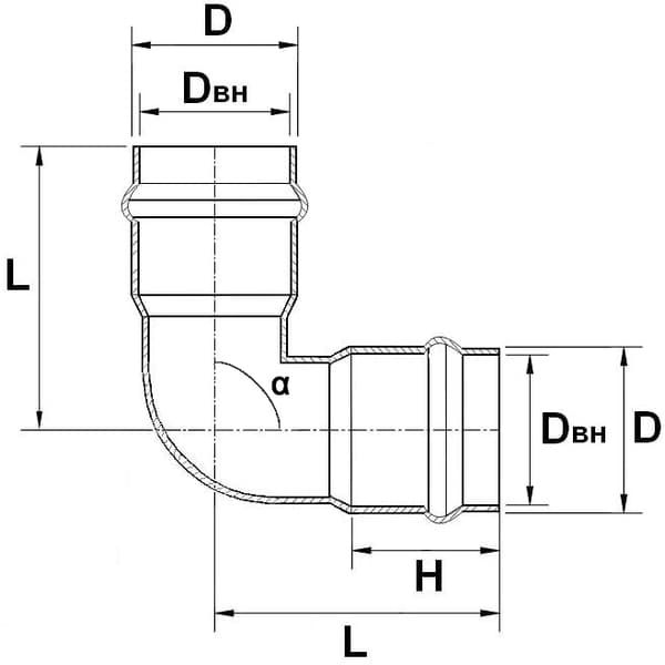 Отвод НПВХ напорный 160х90°(2 раструба)