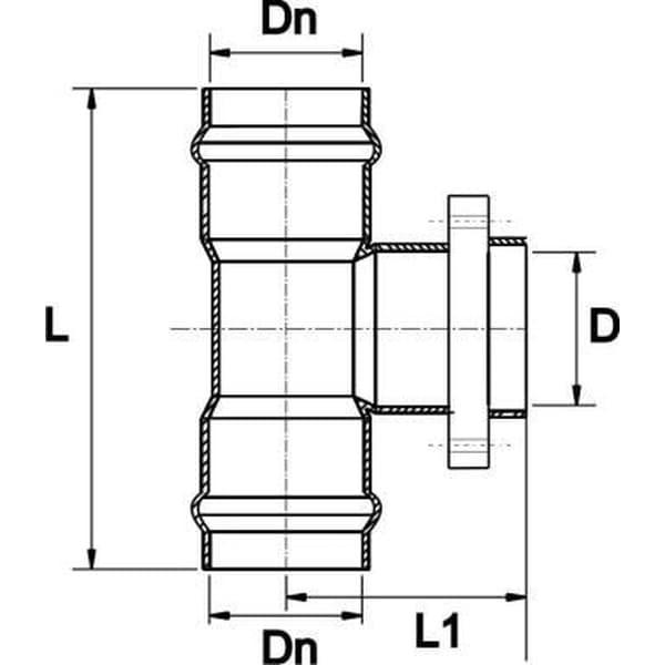 Тройник НПВХ напорный с металлическим фланцем 225/200